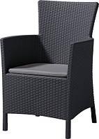 Стілець - крісло зі штучного ротангу IOWA графіт (Allibert)