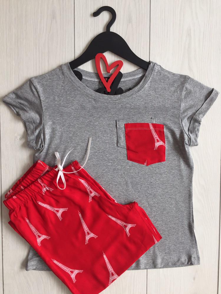 Трикотажный комплект пижамы, штаны с футболкой