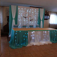 Президиум молодоженов в бирюзовом цвете, оформление, украшение свадьбы,  свадебный декор Сумы
