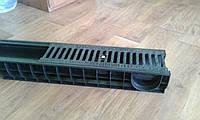 Лоток водоотводный пластиковый DN100 H120  с пластиковой решёткой, фото 1