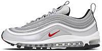 Женские спортивные кроссовки Nike Air Max 97 Silver (Найк Аир Макс 97) в стиле серебристые