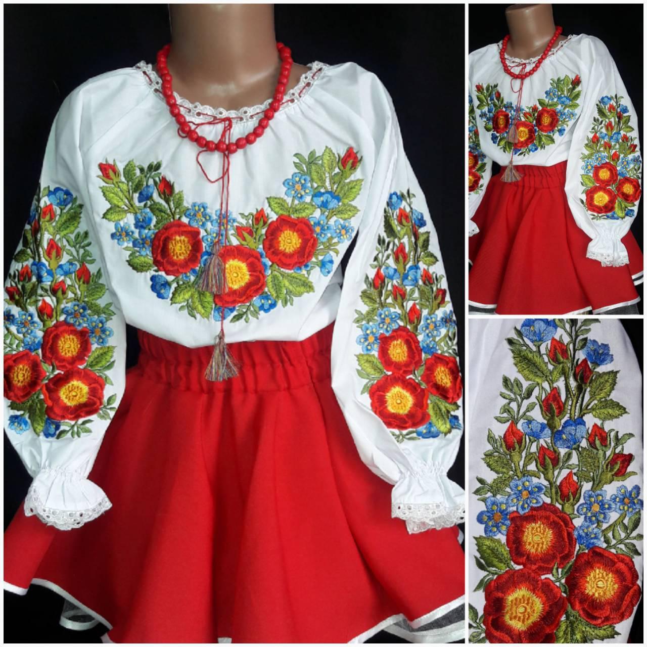 """Блуза детская - вышиванка  """"Шипшинка"""", 120-146 рост, 295/255 (цена за 1 шт. + 40 гр.)"""