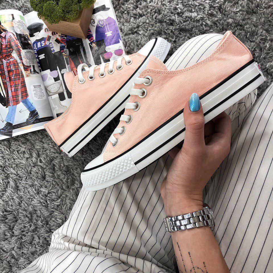 Кеды Converse All Star Женские конверс - Pink (конверсы низкие). Топ Реплика  - 99d4f44cbb240