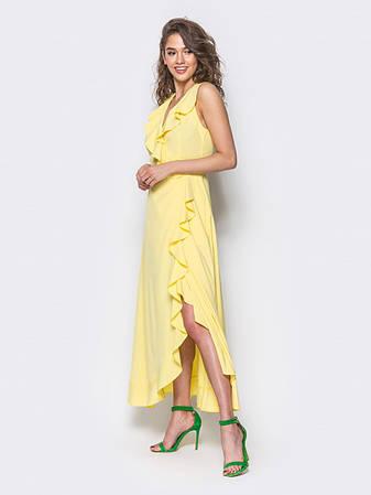 Сукня на запах з м'якою воланом на поличці і по низу жовтий  розмір 44,46,48, фото 2