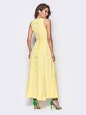 Сукня на запах з м'якою воланом на поличці і по низу жовтий  розмір 44,46,48, фото 3