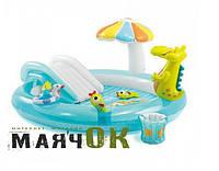 Игровой надувной центр с горкой Intex 57165, Аллигатор,  201х170х84см