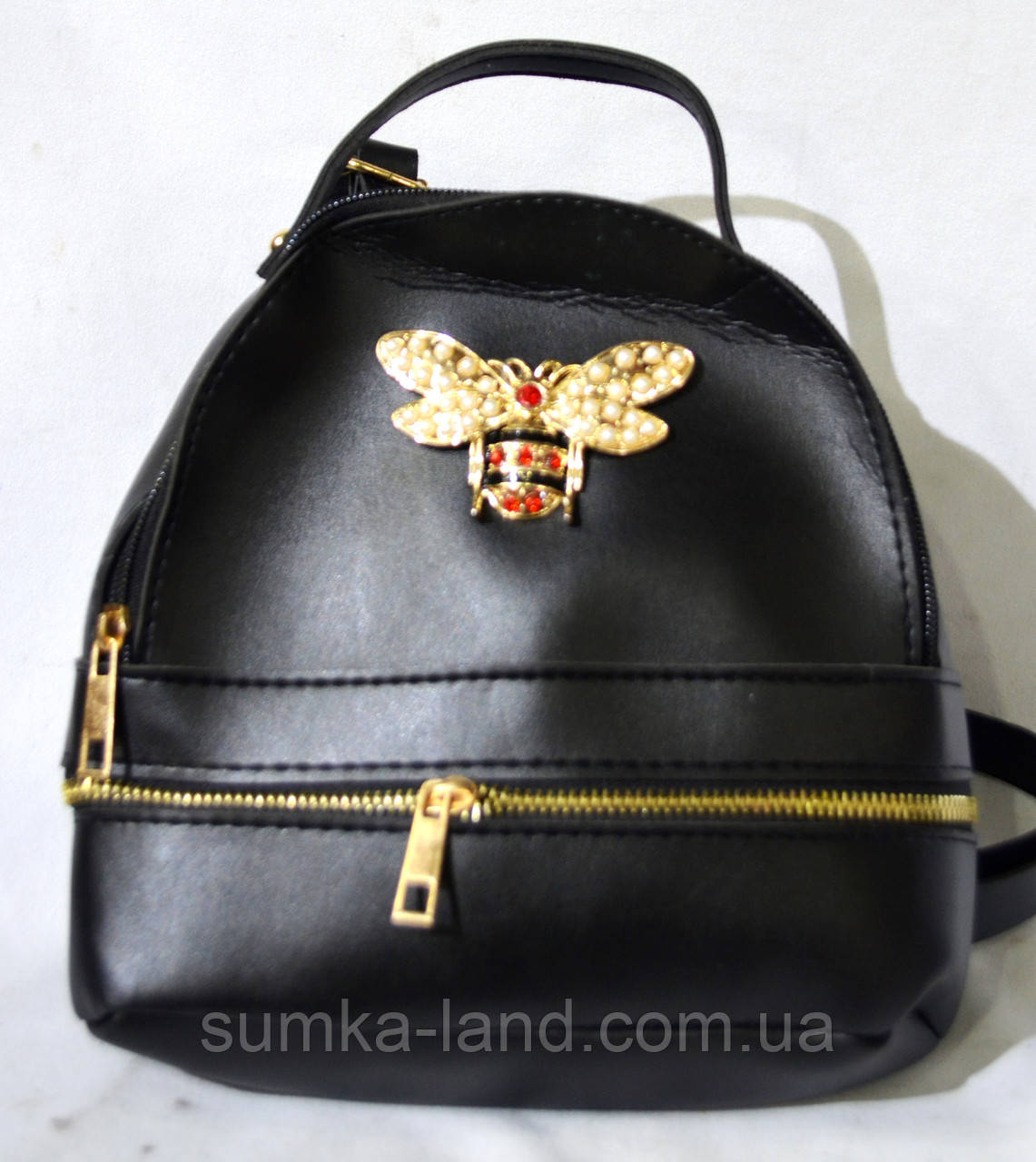 Женский черный городской рюкзак Gucci из эко-кожи с пчелой 18*21 см