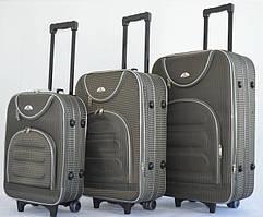 Набор чемоданов на колесах Bonro Lux Серый-клетка 3 штуки