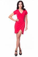 Платье женское летнее на запах красного цвета, платье молодежное красивое повседневное,, фото 1