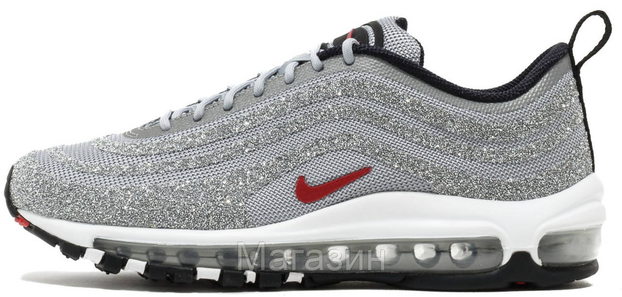 Женские кроссовки Nike Air Max 97 Swarovski Silver 927508-002 Найк Аир Макс 97 в стиле серебристые