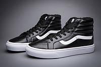 "Зимние Кеды Vans Old Skool SK8-HI Leather ""Black White"" - ""Белые Черные"" (Копия ААА+)"