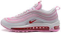 Женские кроссовки Nike Air Max 97 White/Pink (Найк Аир Макс 97) в стиле белые с розовым