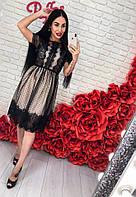 Жіноче оригінальне плаття декороване мереживними вставками, фото 1