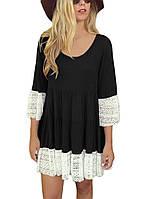 Модное черное платье с белым кружевом, фото 1