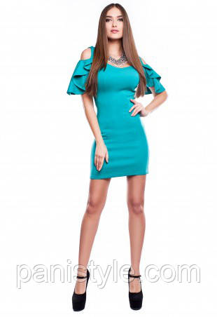 Сукня жіноча ошатне вбрання по фігурі бірюзового кольору, сукня міні молодіжний літній.