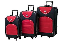 Набор чемоданов на колесах Bonro Lux Темно-синий-красный 3 штуки