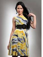 Платье женское летнее желтого цвета с пышной юбкой, плате молодежное маленького размера повседневное.