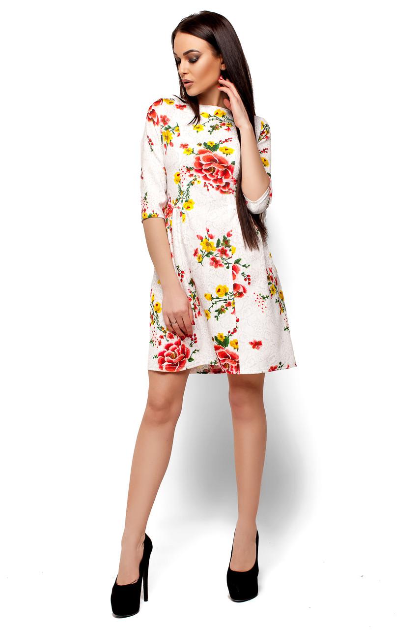 Нарядное платье мини юбка пышная рукав до локтя костюмка цветы белое
