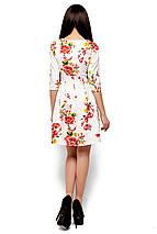Нарядное платье мини юбка пышная рукав до локтя костюмка цветы белое, фото 3