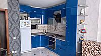 Кухня синяя крашеная МДФ