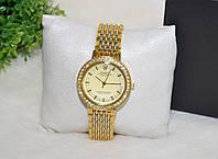 Женские часы Ролекс ( Rolex ) золото плетеный ремень стразы.