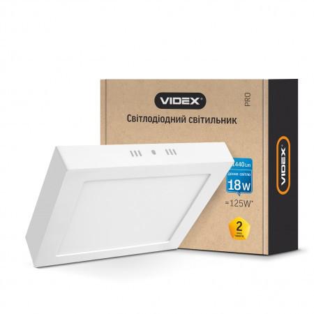 Накладной светодиодный светильник Videx 18Вт квадрат