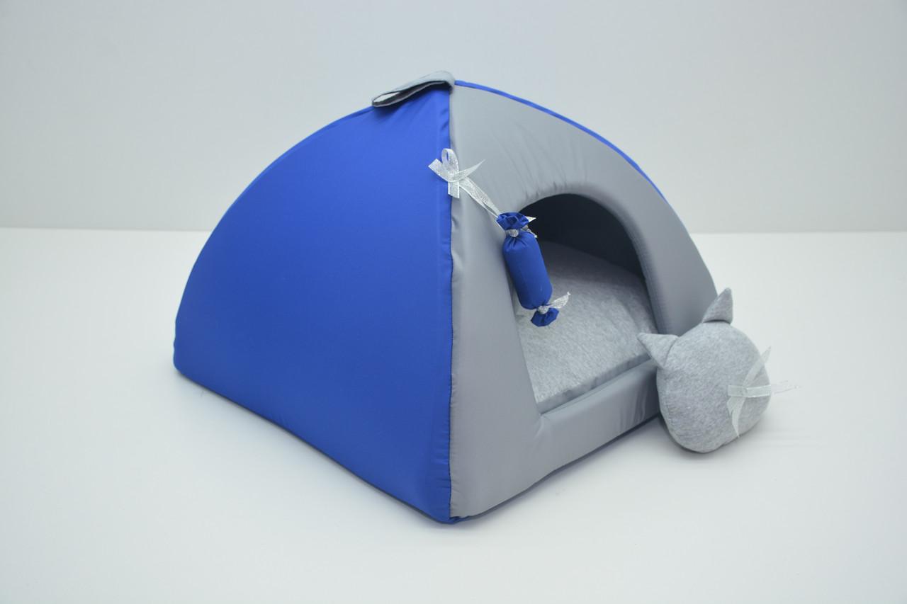 Домик юрта для котов и собак Комфорт лето синий