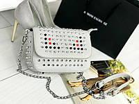 Стильная женская сумка на цепочке (серый), фото 1