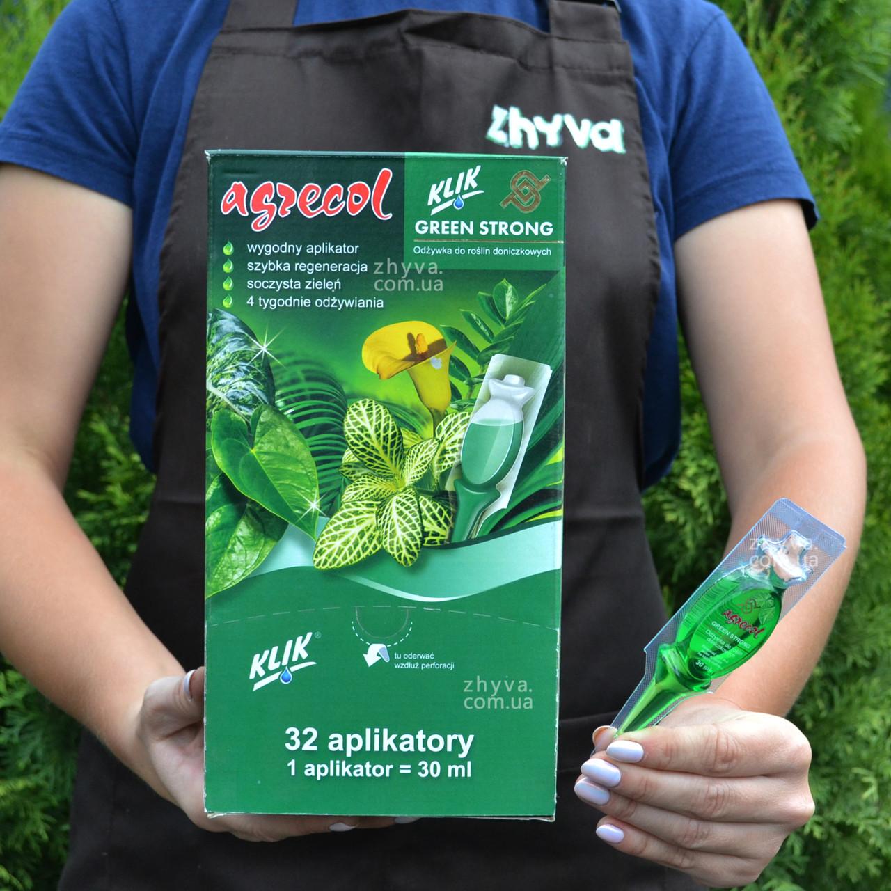 Добриво кондиціонер для зелених рослин Agrecol Green Strong в аплікаторі 30мл (1шт)