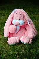 Плюшевый Зайка Кнопа 120 см, розового цвета