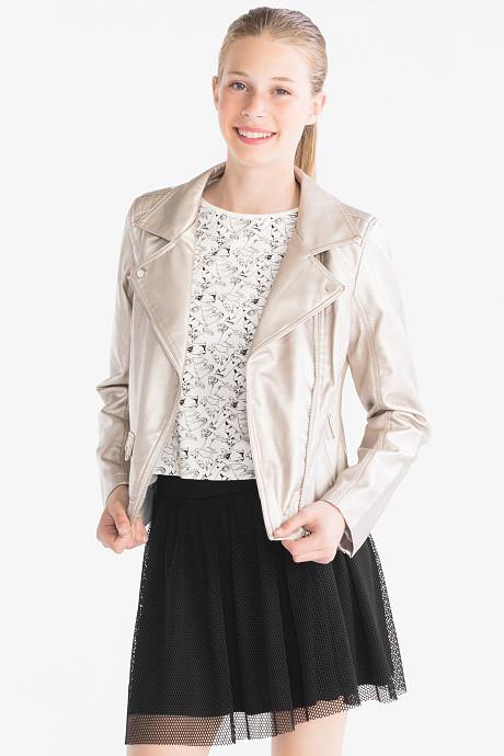 Перламутровая куртка косуха для девочки 9-10 лет C&A Германия Размер 140