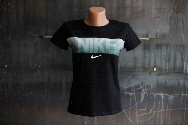 Футболка женская Nike.черная,белый логотип, фото 2