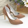 Женские туфли на шпильке, бежевый нубук, фото 4