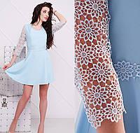 Летнее короткое нарядное платье женское с гипюром нежное