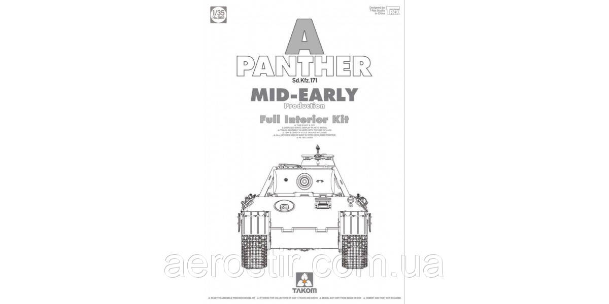 Panther Ausf. A, Mid-Early Production w/ Full interior 1/35 Takom 2098
