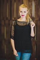 женская туника-сетка летняя черного цвета, туника с рукавом нарядная свободного кроя, туника накидка, фото 1