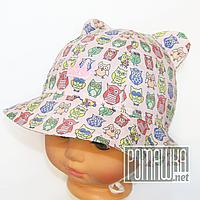 Детская панамка для девочки с завязками р. 44 ТМ Ромашка 4064 Розовый