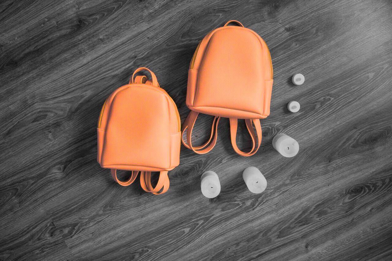Стильный женский рюкзак оранжевый маленький  эко-кожа ЕСТЬ РАЗНЫЕ ЦВЕТА