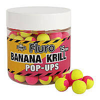 Бойлы Dynamite Baits Two Tone Banana & Krill Fluro Pop-Ups 20mm 100g