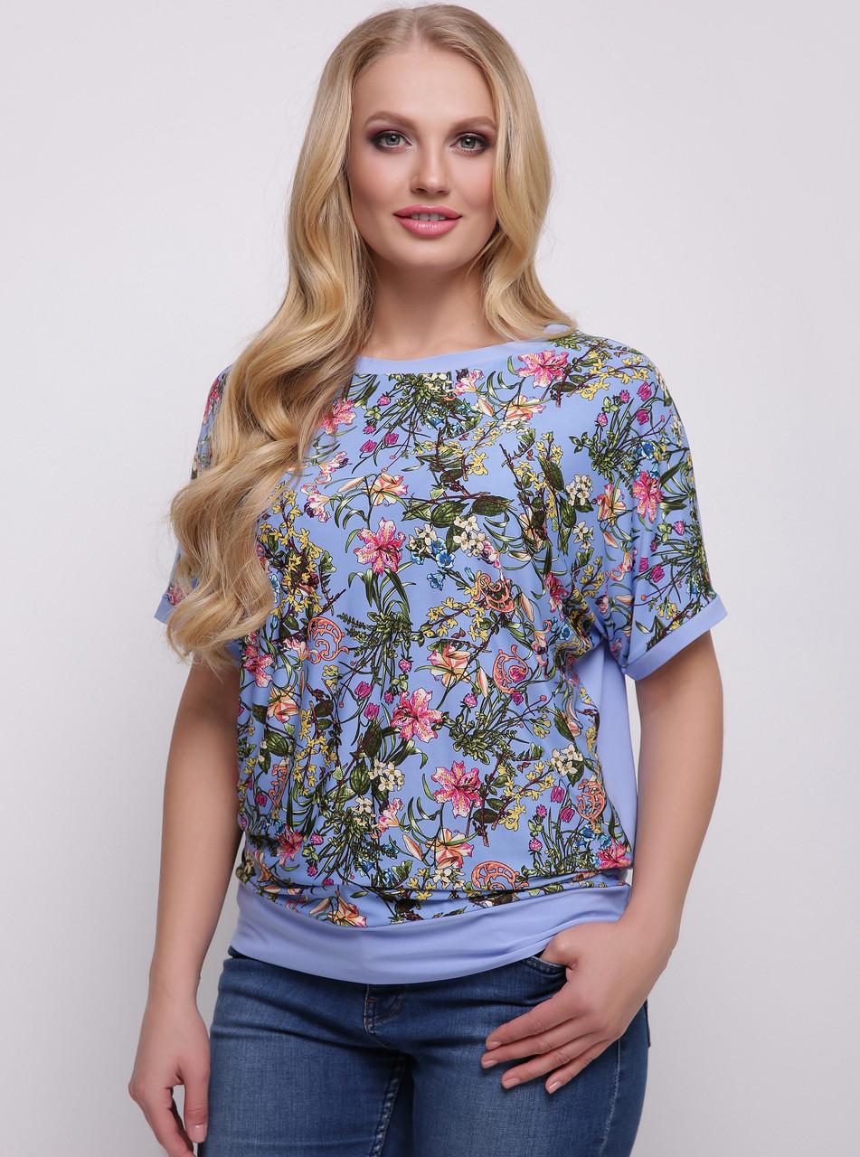 Блузка женская нарядная трикотажная блуза летняя больших размеров