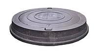 Крышка тяжелого люка полимерпесчаная черная Д 672 мм (С250)