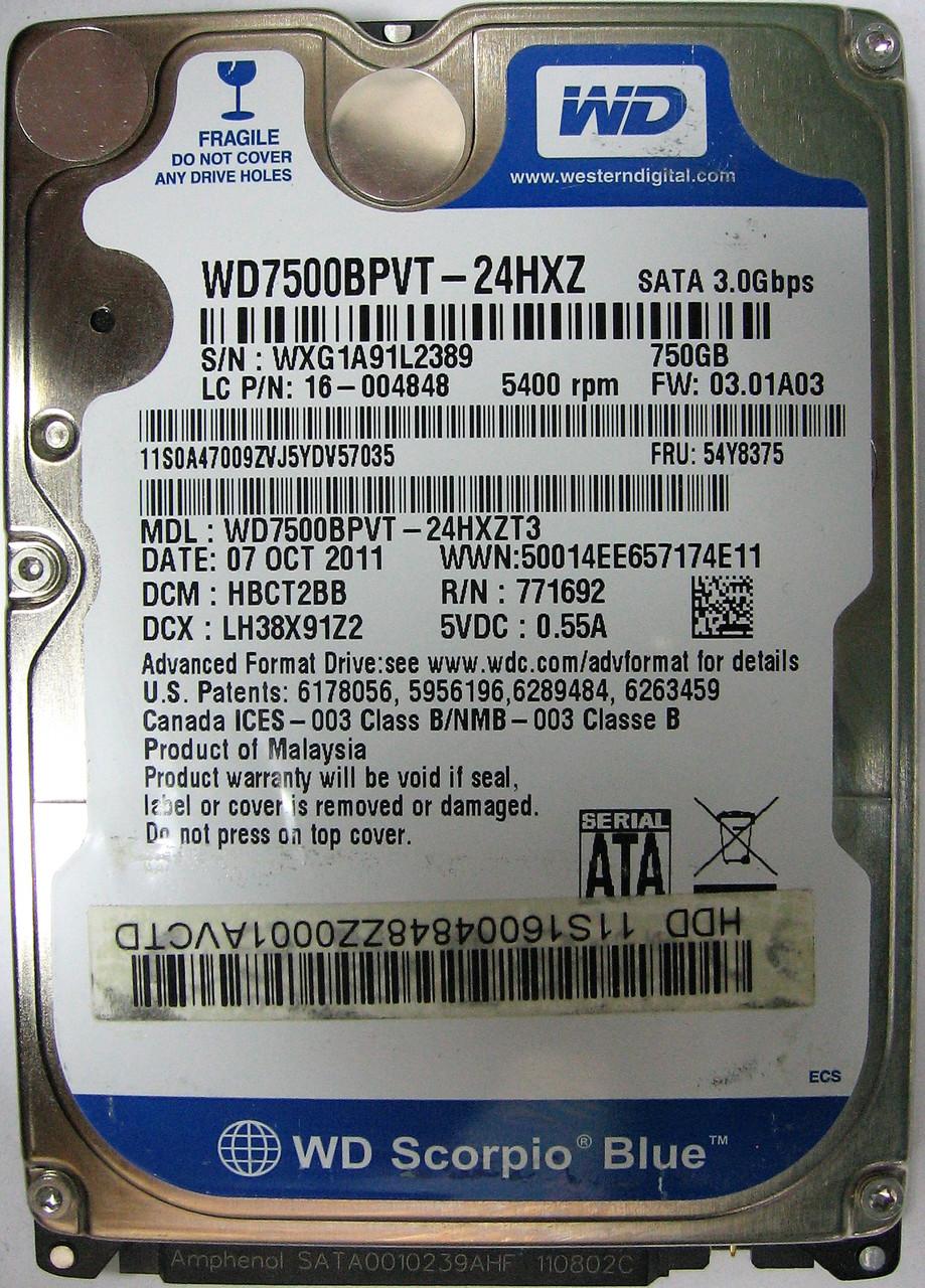 HDD 750GB 5400 SATA2 2.5 WD Blue WD7500BPVT WXG1A91L2389