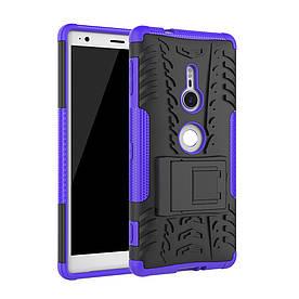 Чехол накладка для Sony Xperia XZ2 H8266 противоударный с подставкой, фиолетовый