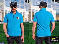 Мужская футболка поло(голубой)