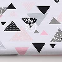 """Ткань хлопковая """"Треугольники с узорами"""" розовые и серые на белом (№1318а)"""