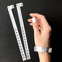Контрольные виниловые браслеты на руку с логотипом для посетителей L - тип 16 мм Silver