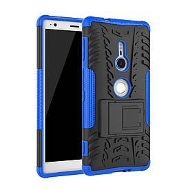 Чехол накладка для Sony Xperia XZ2 H8266 противоударный с подставкой, синий