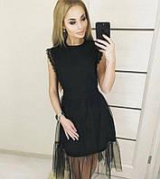 Платье двойка платье + юбка сетка и кружево