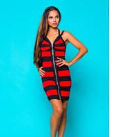 Платье летнее красного цвета пр-во Турция, платье на молнии в полоску, платье молодежное, фото 1