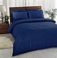 Двуспальное евро постельное белье TAC Vision Lacivert Жаккард (картонная коробка)